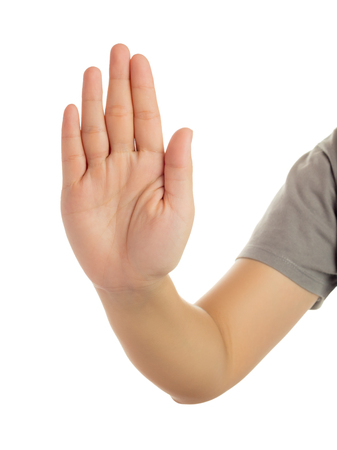 Human hand in reach out one's hand and showing 5 fingers gesture isolate on white background with clipping path, High resolution and low contrast for retouch or graphic design Stock Photo