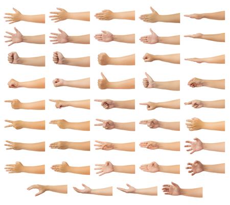 Ensemble de main humaine dans plusieurs gestes isolés sur fond blanc avec chemin de détourage, faible contraste pour la retouche ou la conception graphique