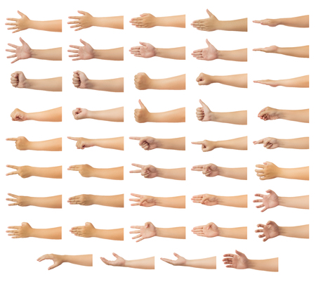 Set of human hand in multiple gesture isolate on white background with clipping path, Low contrast for retouch or graphic design Banco de Imagens