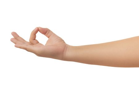 Human hand in showing one's hand in meditation sign gesture isolate on white background with clipping path, High resolution and low contrast for retouch or graphic design Stockfoto