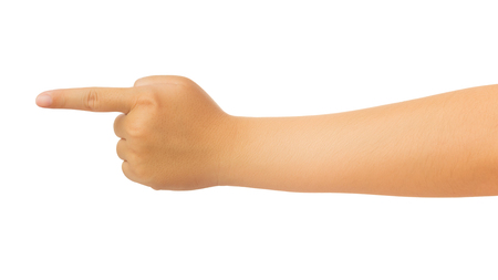Human hand in forefinger pointer, touch, strike slightly or command gesture isolate on white background with clipping path, High resolution and low contrast for retouch or graphic design
