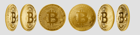 Group of gold Bitcoin cryptocurrency isolated on white background. High resolution for retouch or graphic design