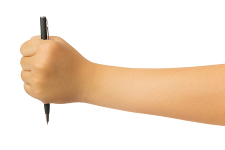 Human hand in reach out ones hand and holding black ballpoint pen gesture isolate on white background with clipping path, High resolution and low contrast for retouch or graphic design