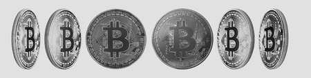 Group of silver Bitcoin cryptocurrency isolated on white background. High resolution for retouch or graphic design Stock Photo
