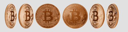 Group of copper Bitcoin cryptocurrency isolated on white background. High resolution for retouch or graphic design