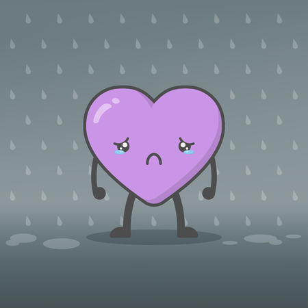 Illustration of cute and kawaii heart mascot character crying in the rain feeling sad. Heartbroken, lovelorn and Valentines day concept