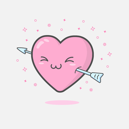 Illustration of cute and kawaii heart mascot character floating with arrow feeling happy and smiling. Love and Valentines day concept
