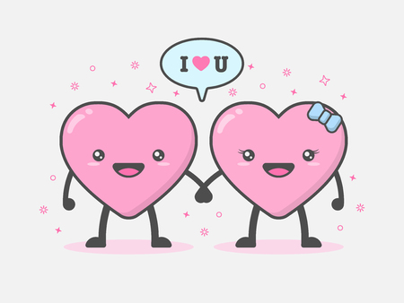 Illustration of cute and kawaii couple heart mascot character holding hands in feeling happy and smiling with I LOVE YOU word. Love and Valentines day concept