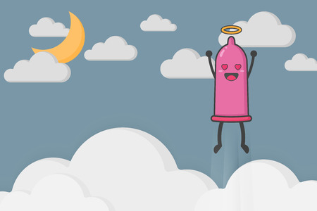 Illustration of cute and kawaii condom character flying to heaven. Contraceptive device and sexually transmitted infection concept