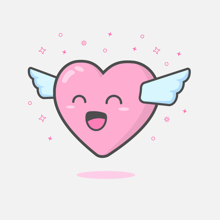 Illustration of cute and kawaii heart mascot character floating with wings feeling happy and smiling. Love and Valentines day concept  Illustration