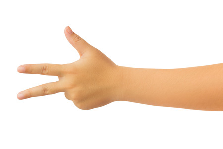 Human hand in reach out ones hand and counting number three fingers gesture isolate on white background with clipping path, High resolution and low contrast for retouch or graphic design Stok Fotoğraf