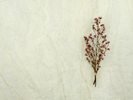 Top view bouquet of dried and wilted red Gypsophila flowers on matt marble background with copy space Stok Fotoğraf