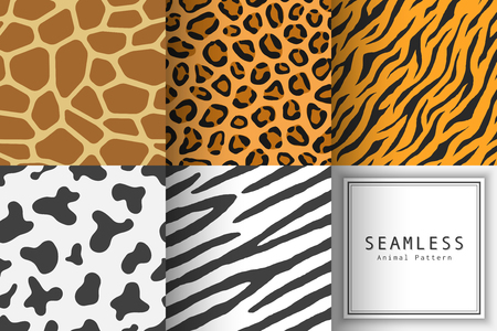 Set of Illustration seamless animal print pattern texture background. Realistic giraffe, leopard, panther, zebra, cow and tiger skin color. Vector