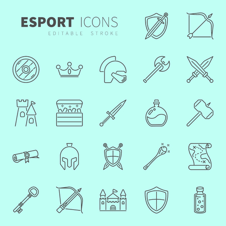 Line design icon set of MMORPG video game and esport concept. Editable stroke vector icon. Çizim