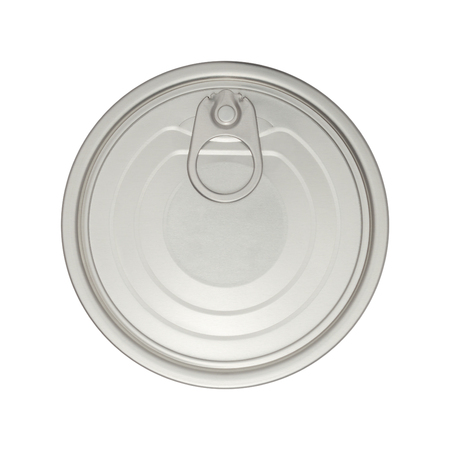 Top view and close-up image of silver aluminium easy open tin can lid ring pull isolated on white background. Conserve, waste and recycle concept. Stok Fotoğraf