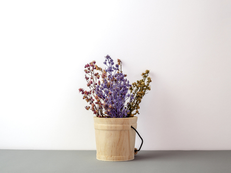 Group of bouquet dried and wilted multiple color Gypsophila flowers in wood bucket on gray floor and white background Stok Fotoğraf