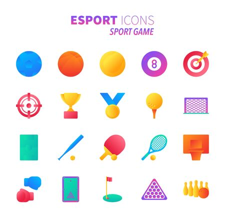 Brilliant colorful gradient icon set of sport game and esport concept. Çizim