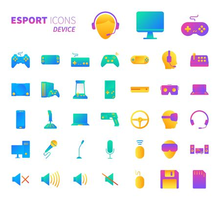 Brilliant colorful gradient icon set of video game and esport device concept.