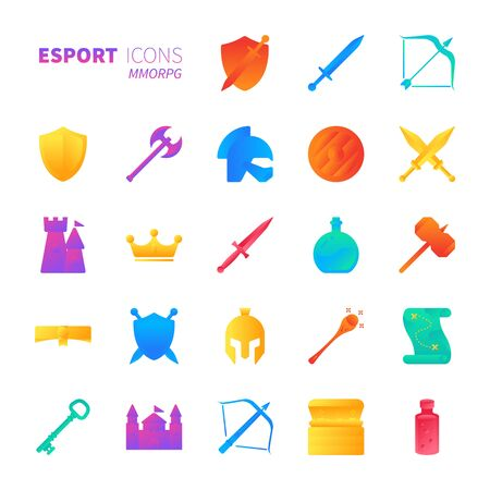 Brilliant colorful gradient icon set of MMORPG video game and esport concept.