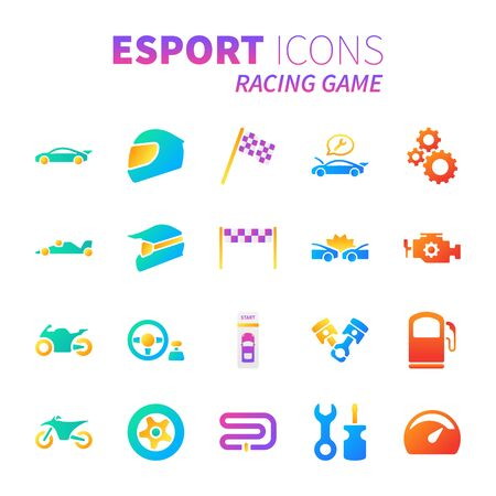 Brilliant colorful gradient icon set of racing video game and esport concept.