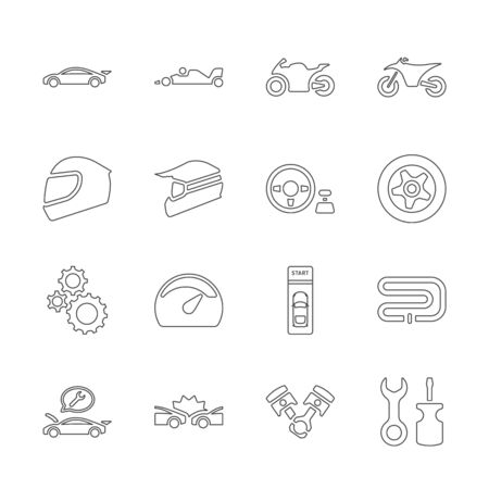 Line design icon set of racing video game and esport concept. Editable stroke vector icon.