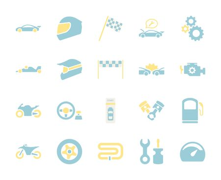 Flat color design icon set of racing video game and esport concept. Çizim