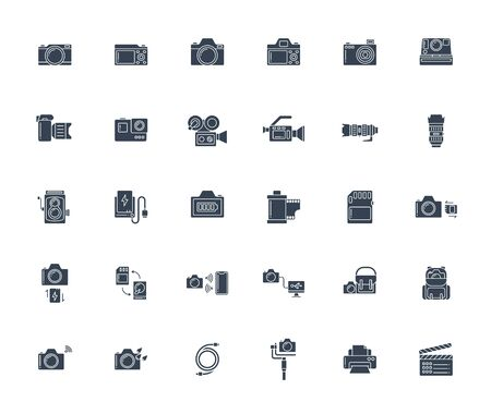 Solid or glyph design icon set of photography camera, cinema or movie camera, action camera and accessories concept