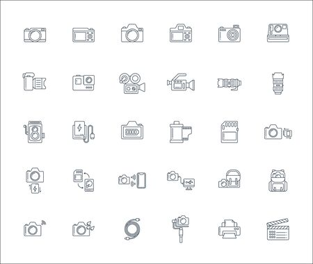 Lineal design icon set of photography camera, cinema or movie camera, action camera and accessories concept. Editable stroke vector icon. Çizim