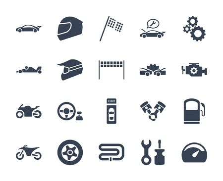 Solid or glyph design icon set of racing video game and esport concept.