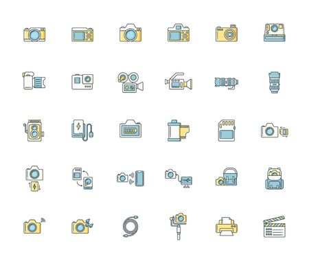 Filled or line color design icon set of photography camera, cinema or movie camera, action camera and accessories concept.