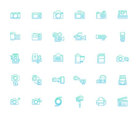 Lineal gradient design icon set of photography camera, cinema or movie camera, action camera and accessories concept.