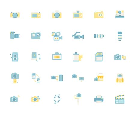 Flat color design icon set of photography camera, cinema or movie camera, action camera and accessories concept