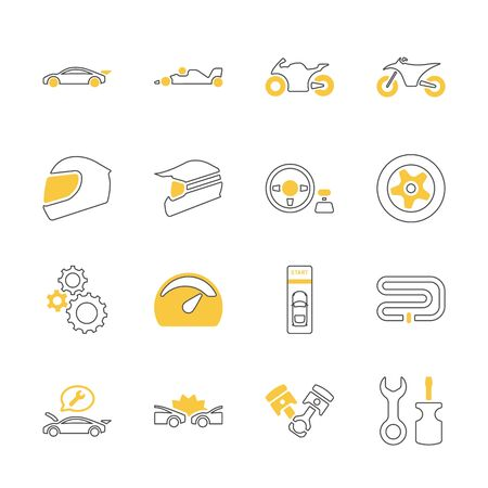 Yellow shadow design icon set of racing video game and esport concept. Çizim