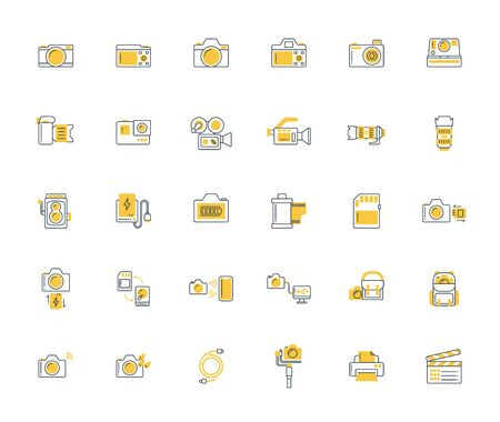 Yellow shadow design icon set of photography camera, cinema or movie camera, action camera and accessories concept.