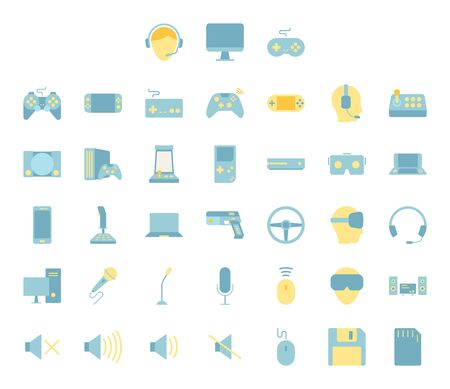 Flat color design icon set of video game, computer game and esport device concept. Illusztráció