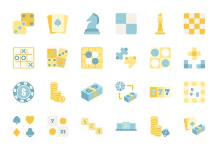 Flat color design icon set of casino, puzzle and board game. Esport concept.
