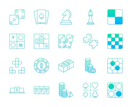 Lineal gradient design icon set of casino, puzzle and board game. Esport concept.