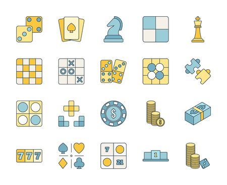 Filled or line color design icon set of casino, puzzle and board game. Esport concept.