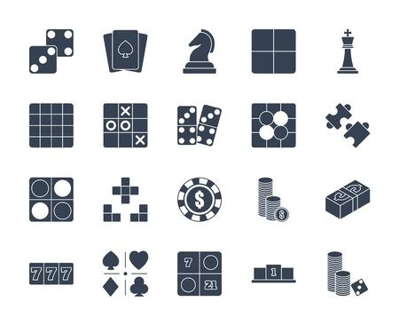 Solid or glyph design icon set of casino, puzzle and board game. Esport concept.