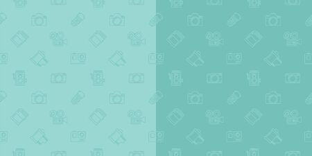 Vector photography camera, cinema or movie camera set outline seamless pattern background.