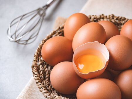 Close up image of organic chicken eggs are one of the food ingredients on the restaurant table in the kitchen to prepare for cooking. Organic chicken eggs food ingredients concept Reklamní fotografie - 138194321