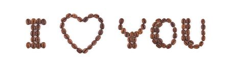 High resolution roasted coffee beans arranged in letters on white background for coffee menus or cafe signs
