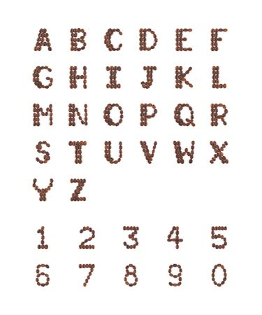Set of roasted coffee beans fonts arranged in letters English alphabet uppercase letters and numbers on white background for coffee menus or cafe signs