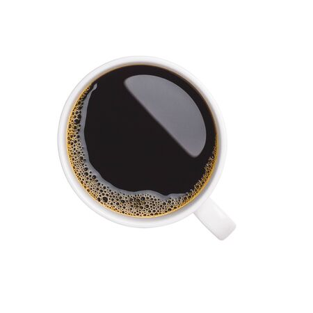 Close-up and top view of hot black coffee in white coffee cup isolated on white background.