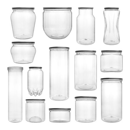 Collection set of empty transparent PET can jar for canning and preserving isolated on white background.