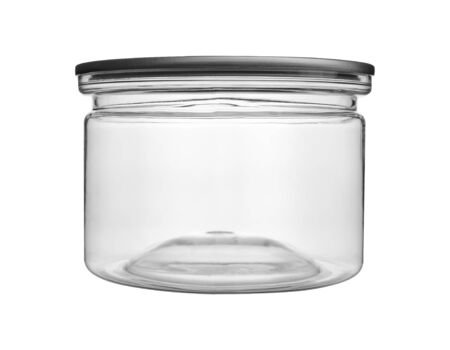 Empty transparent PET can jar for canning and preserving isolated on white background.