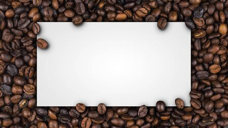 Closeup of empty white label paper on heap of roasted coffee beans for use as coffee web banner, coffee shop sign or cafe.