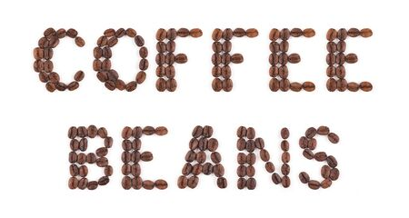 High resolution roasted coffee beans arranged in letters on white background for coffee menus or coffee shop signs