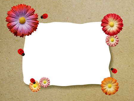 Artificial flowers mulberry paper frame photo