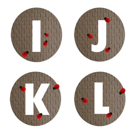 alphabet  number  form recycled paper on white background ( I J K L )